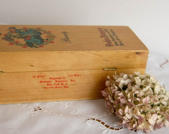 Vintage Wooden Brandy Box - Carlos I Pedro Domecq made in Spain