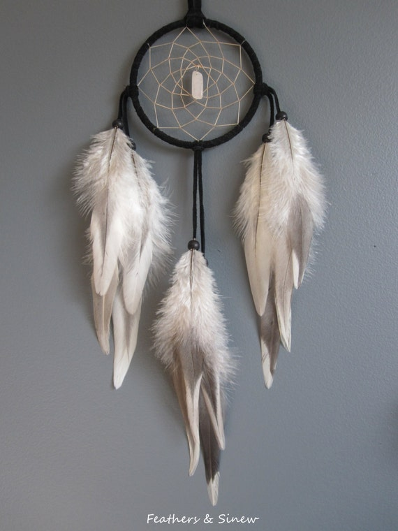 Black Suede Dream Catcher with Variant Rooster Saddle Feathers