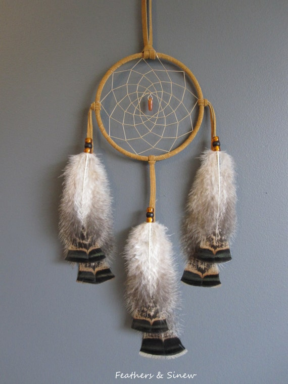 Dream Catcher Tan Suede with Turkey Feathers