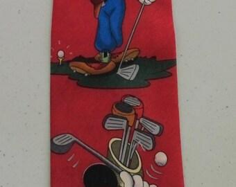 Disney mickey mouse golfing necktie