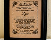 8 x 10 SIGN We Remember Those - Loved Ones/ Remembrance / In Memory Of - Wedding Sign -Single Sheet (Style: REMEMBER)