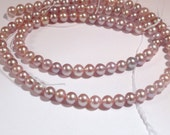 AA Lavender Pearls, 4-5mm Mauve Near Round Freshwater Pearls--3.5 inch strand