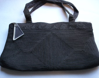 vintage 50's rolled cord victorian/steampunk clutch