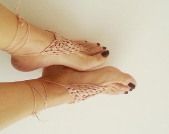 Linen Beige Barefoot Sandals, Nude shoes, Foot jewelry, Wedding, Victorian Lace, Sexy, Lolita, Yoga, Anklet