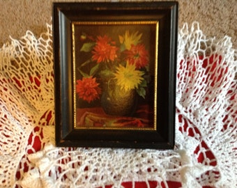 Vintage Wooden Black Frame With Gold Design An Arrangement Of Red an Yellow Chrysanthemums  C & A  Richards Boston Mass.