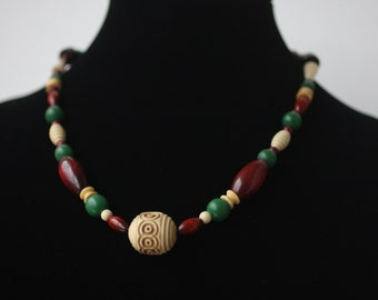 Kitsch Hand-Knotted Necklace of Hand-Lathed Bakelite and Wooden Beads