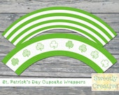 Printable St. Patrick's Day Clover Cupcake Wrappers - INSTANT DOWNLOAD - Printable Digital Files