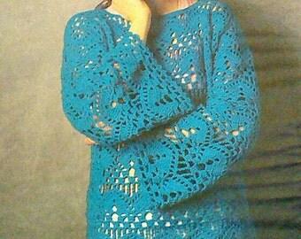 Vintage Crocheted Women's  Open Weave Sweater Pattern