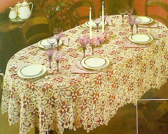 Free Crochet Oblong Tablecloth Patterns : Vintage Crochet Oval Pineapple Motif Tablecloth by ...