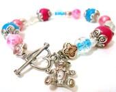 Light Blue & Pink Awareness Charm Bracelet-Miscarriage, Stillbirth, SIDS