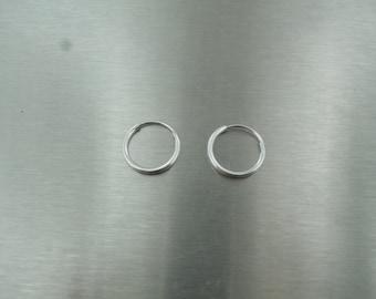 14 Karat  White Gold Hoop Earrings (10mm)