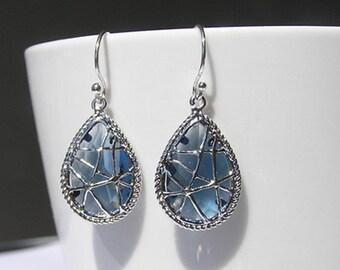 Sapphire  blue gem dangle earrings-blue faceted gemstone earrings-sterling silver drop earrings-silver dangle earrings