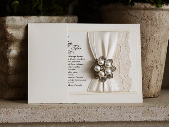 Wedding Invitations Lace And Pearl: Sale Custom Lace Wedding Invitation With By BroochBouquet2