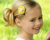 Felt Flower Hair Clip - Pick One - Mustard Yellow Grey and Cream Vintage Hair Clip