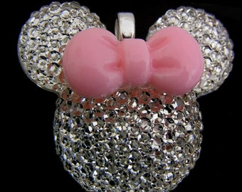 Chunky Pendant Pave Acrylic Rhinestone Super Sparkly 1 1/4 inch- Chunky Necklace Pendant with Bail Mouse Head