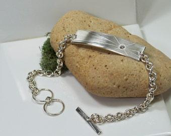 Handmade Sterling Silver Eco Friendly Single Star Unisex Bracelet, Recycled Sterling Silver Mens Bracelet, Womens Bracelet, Silver and Topaz