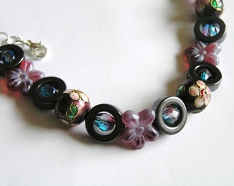 Purple Cloisonne & Glass Flower Beads, Hematite Rings w Pink and Blue Czech Glass Bead Bracelet