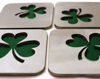 Emerald Isle Shamrock Coasters, St. Patrick's Day, Ireland, Irish, Green, Lucky
