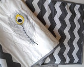 Gray Chevron Table Runner with Embroidered Peacock Feather in Gray and Yellow, Sale Priced, Quilted
