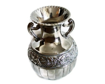 AMPHORA jug shaped vase heavy vintage metal urn, Cuspidor spittoon. home decor Wedding reception centerpiece. Ali Baba and the Forty Thieves