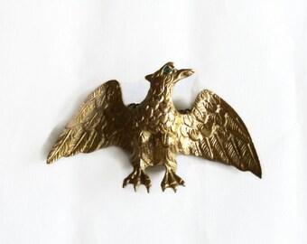 Golden EAGLE figurine vintage brass, wings spread. WALL hanging, Metal chains, BIRD of prey, Wildlife animal, Hollywood Regency, goldtone