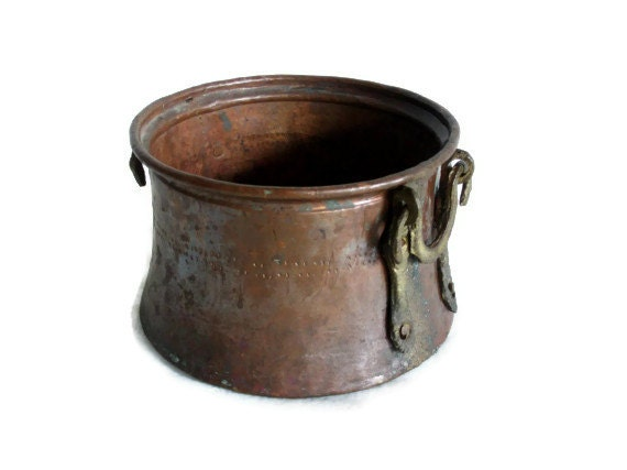 Etched Vintage Copper Cauldron Handmade Turkish Pot Ornate
