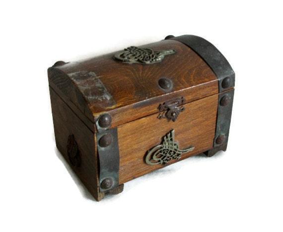 Wood Pirate Chest ~ Reserved for h wooden pirate treasure chest by cabinetocurios