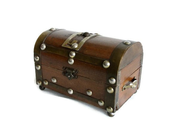 Wood Pirate Chest ~ Old wooden pirate treasure chest metal studs brass ornaments