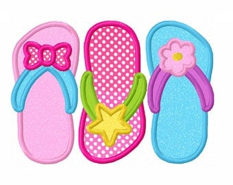 Instant Download Three Flip Flops Applique Machine Embroidery Design NO:1325