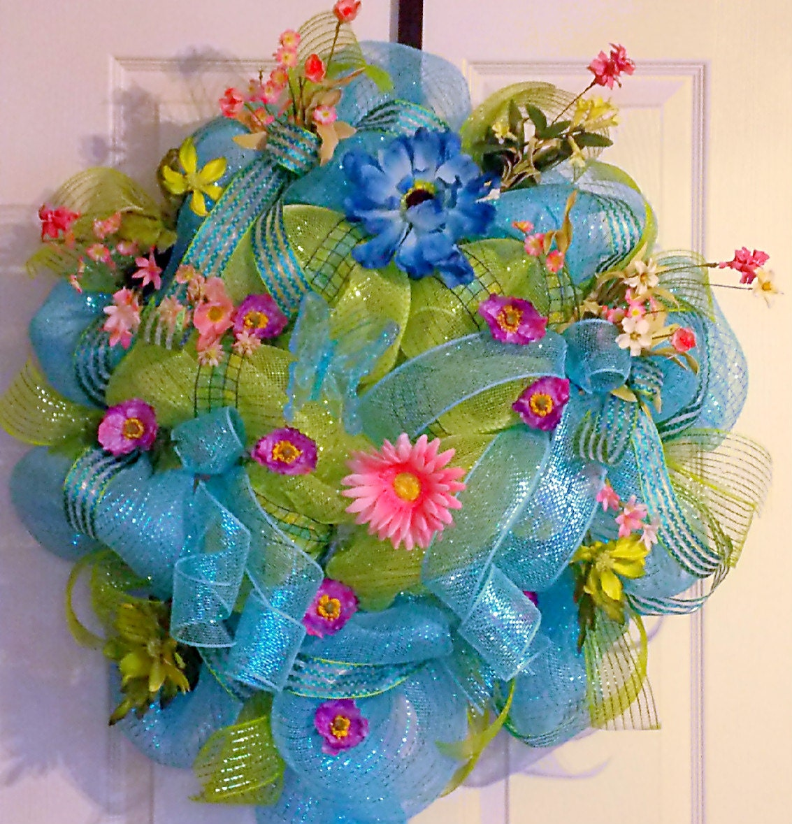 Summer Deco Mesh Wreath With Butterfly Spring Wreath Summer