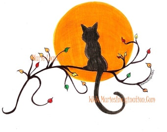 Greeting Cards - Note Cards.  Black Cat by Marie Logston.
