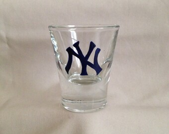 Hand painted New York Yankees shot glass