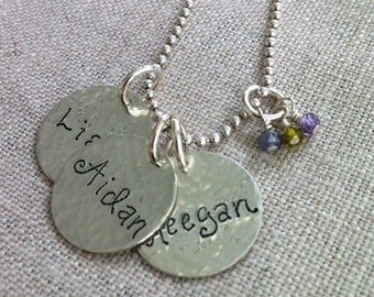 Hand Engraved Round Personalized Charms