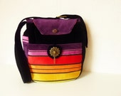 "Boho Ethno Rainbow Bag Purse ""Makenna"" Stripes Hippie Velvet Multicolor 70s Retro Vintage Gypsy Colorful Flower Power Black"