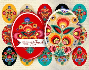 Polish Moods  - oval image - 30 x 40 mm or 18 x 25 mm - digital collage sheet  - Printable Download