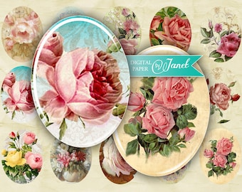 Vintage Roses - oval image - 30 x 40 mm or 18 x 25 mm - digital collage sheet  - Printable Download