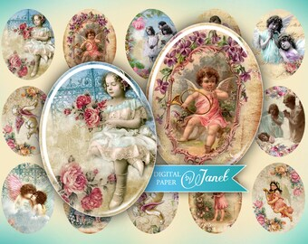 Angels - oval image - 30 x 40 mm - digital collage sheet  - Printable Download