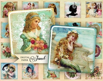 Victorian Stories - squares image - digital collage sheet - 1 x 1 inch - Printable Download