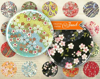 Japan Paper - circles image - digital collage sheet - 1 x 1 inch - Printable Download