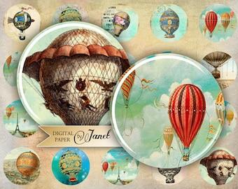 BallOOn - circles image - digital collage sheet - 1 x 1 inch - Printable Download