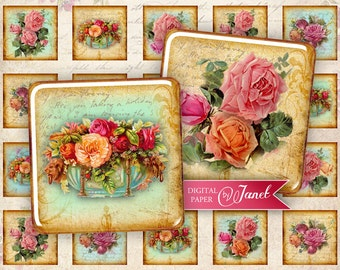 Antique Squares - squares image - digital collage sheet - 1 x 1 and 2 x 2 inch - Printable Download