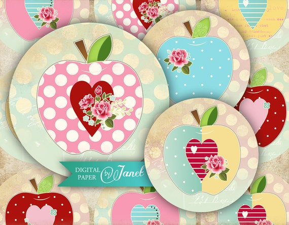 Sweet APPLE - 2.5 inch circles - set of 12 - digital collage sheet - pocket mirrors, tags, scrapbooking, cupcake toppers