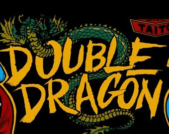 "Double Dragon Marquee, Arcade, 12 x 36"" Video Game Poster, Print"