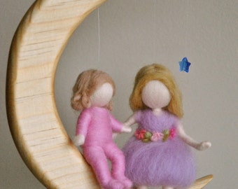 Children  Nursery Decor  Waldorf inspired needle felted mobile :Girls in the moon