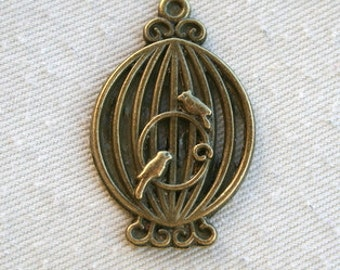 4 Bronze Birdcage Charms/Pendants CB - 0022