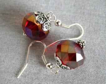 Lovely Cherry Red Crystal and Silver Dangles Earrings