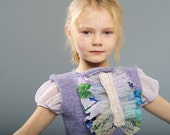 Children cinderella knitted design party clothing, gray purple lilac vest for 8 to 9 years for special occasions