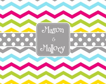 Multi Chevron and Polka Dot Personalized Shower Curtain, Monogrammed Shower Curtain, Sibling Shower Curtain