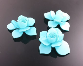 6pcs-40mm Flower Celluloid Cabochon For Accessory,jewely,Art deco and more-SkyBlue(C560SP)