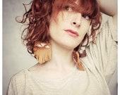 "Oversized fringe earrings ""Jane"" /// Tan brown vintage leather"